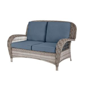 Beacon Park Gray Wicker Outdoor Patio Loveseat with Sunbrella Denim Blue Cushions