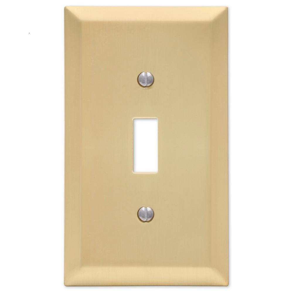Amerelle Century 1 Toggle Wall Plate, Satin Brass