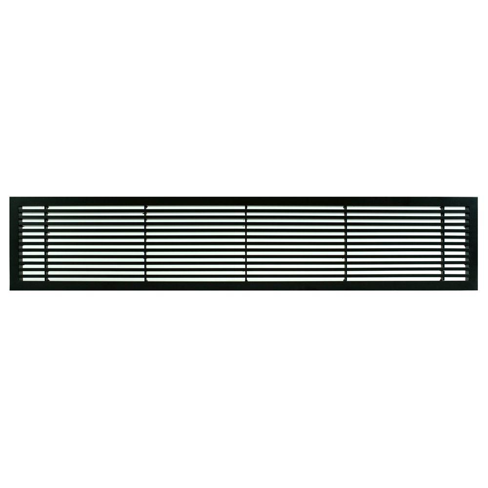Architectural Grille AG20 Series 6 in. x 48 in. Solid Aluminum Fixed Bar Supply/Return Air Vent Grille, Black-Matte