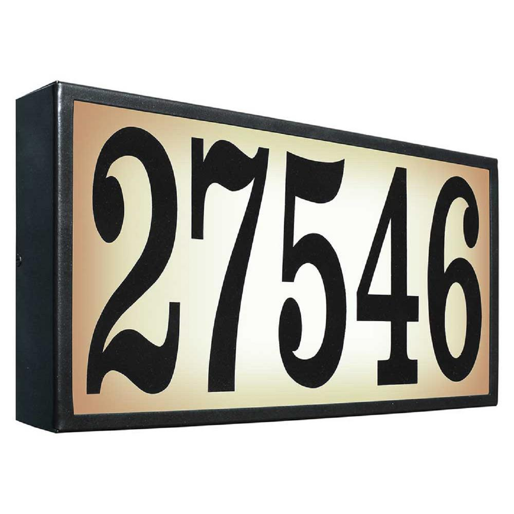 Serrano Extra-Large Galvanized Steel Black Lighted Address Plaque