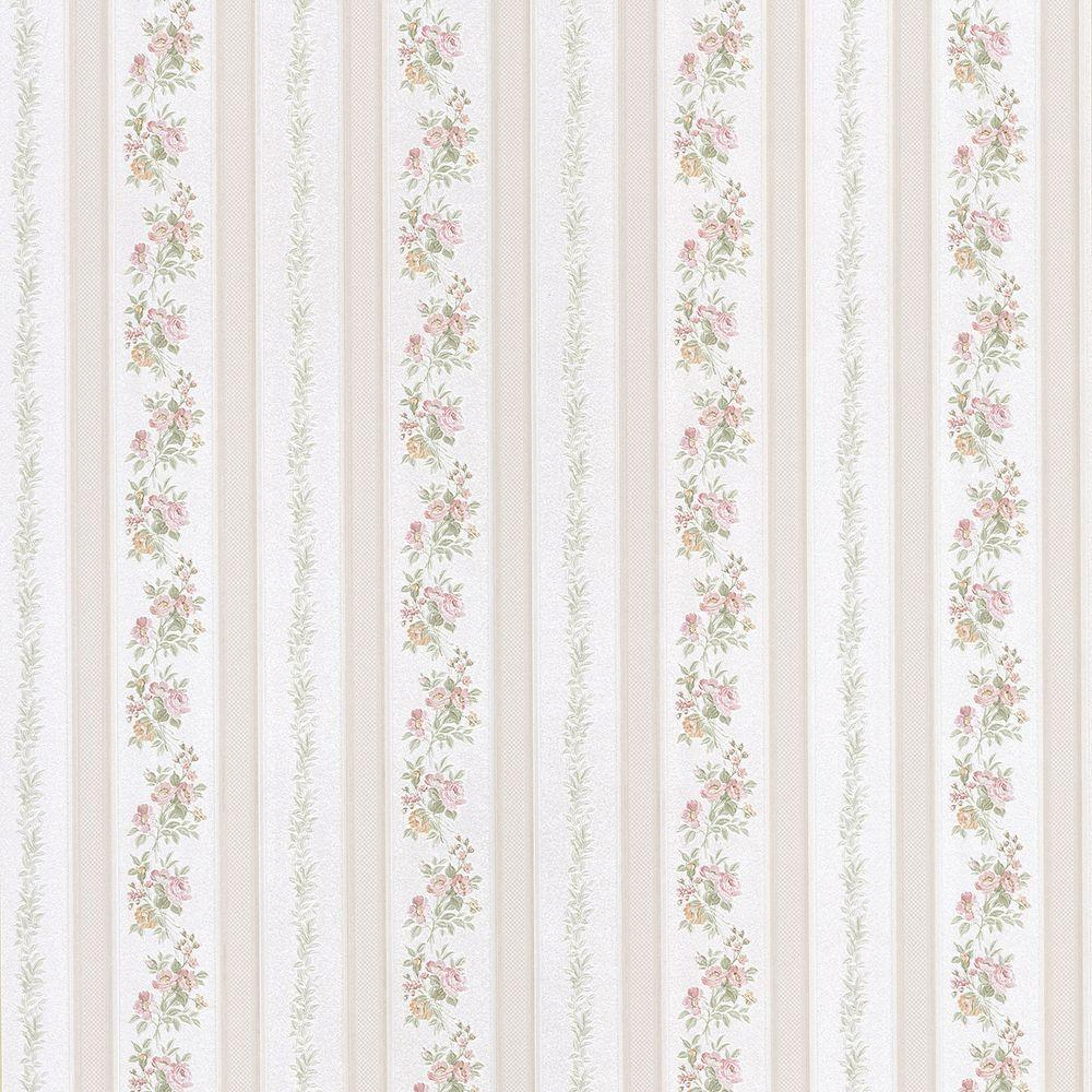 Brewster Sybill Pink Stripe Wallpaper-2686-56029