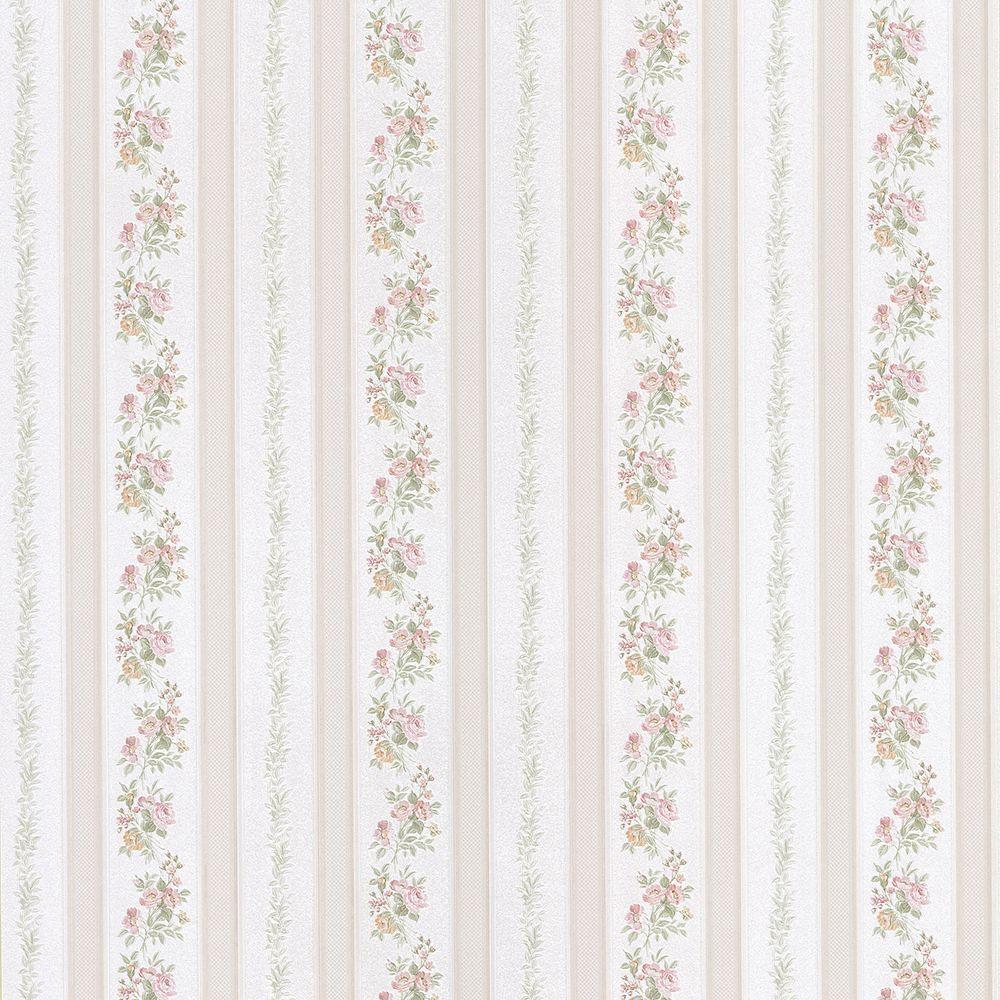Brewster Sybill Pink Stripe Wallpaper Sample