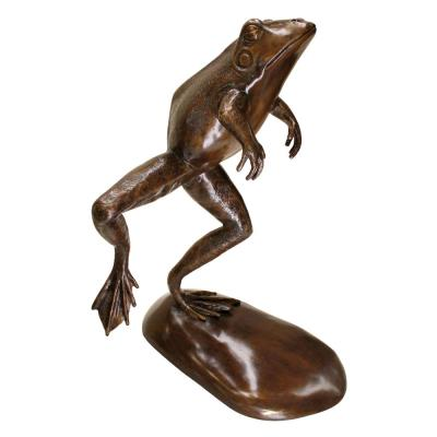 Giant Leaping, Spitting Frog Cast Bronze Piped Spitting Statue