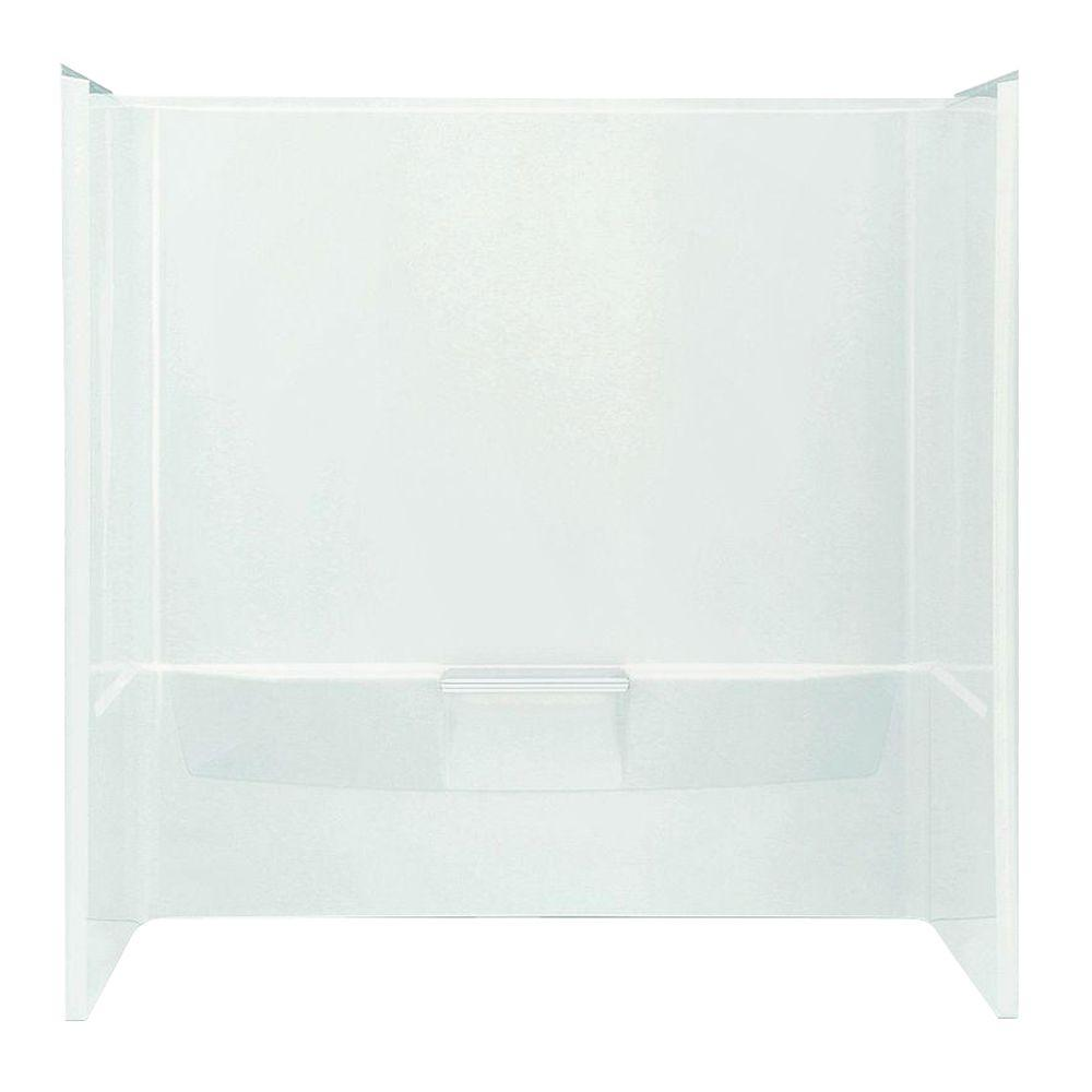 STERLING Performa 60 in. x 30-1/4 in. x 60-1/4 in. 3-piece Direct-to-Stud Tub Wall Set with Backer in White