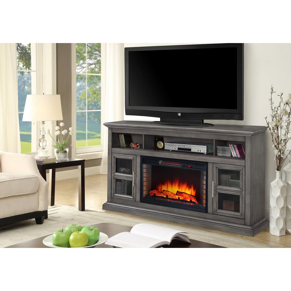 Muskoka Glendale 58 inch Freestanding Electric Fireplace TV Stand Dark Weathered Gray by Muskoka