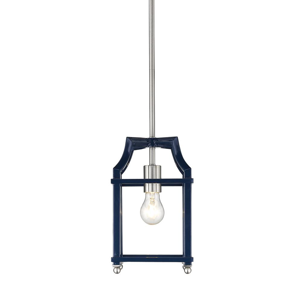 Leighton 1-Light Pewter and Navy Blue Pendant Light