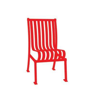 Red Commercial Park Hamilton Portable Patio Chair with No Arms Surface Mount and Vertical Slats