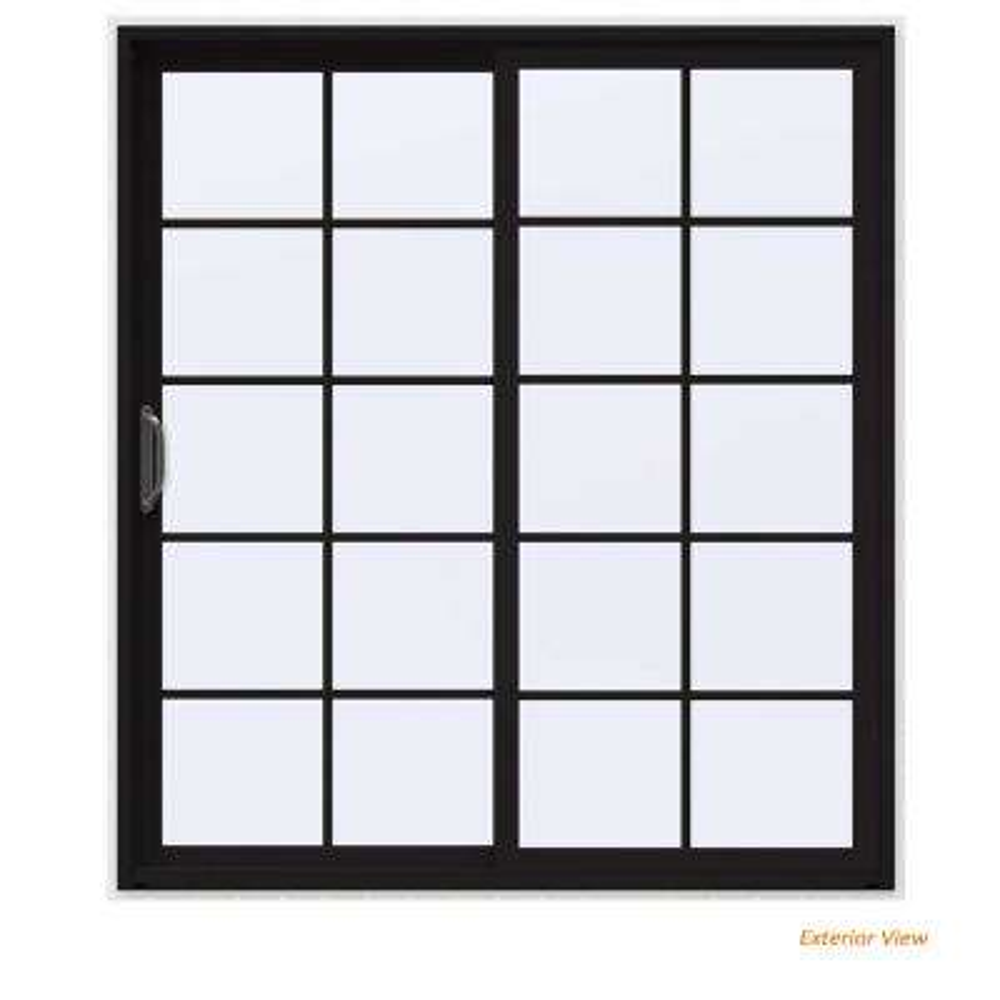 72 in. x 80 in. V-4500 Contemporary Black FiniShield Vinyl Left-Hand 10 Lite Sliding Patio Door w/White Interior