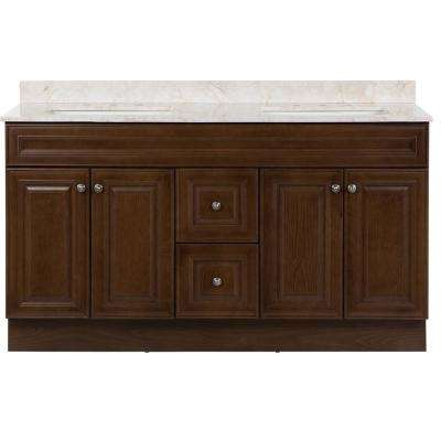 Glensford 61 in. W x 22 in. D Vanity in Butterscotch with Stone Effects Vanity Top in Dune with White Basins