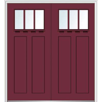 64 in. x 80 in. Clear LowE Glass 3 Lite Burgundy Shaker with Shelf Painted Fiberglass Smooth Prehung Front Door
