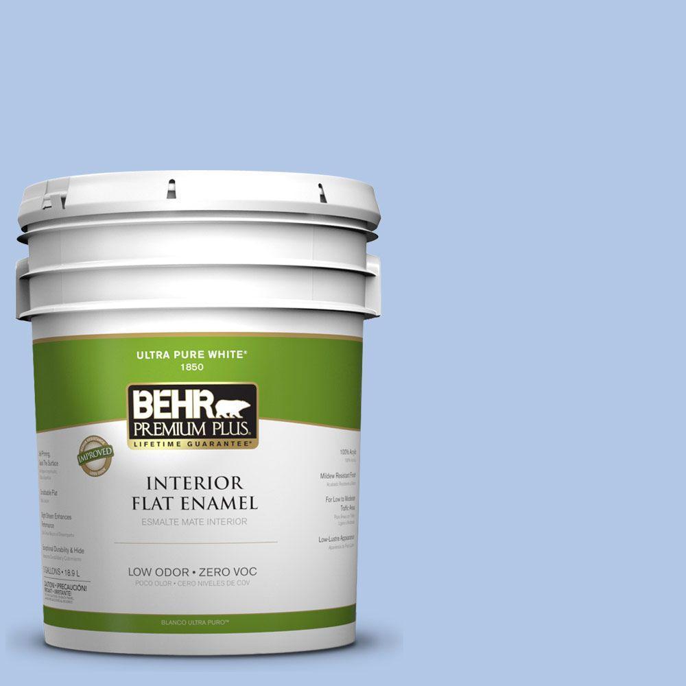 BEHR Premium Plus 5-gal. #580B-4 Ocean Dream Zero VOC Flat Enamel Interior Paint-DISCONTINUED