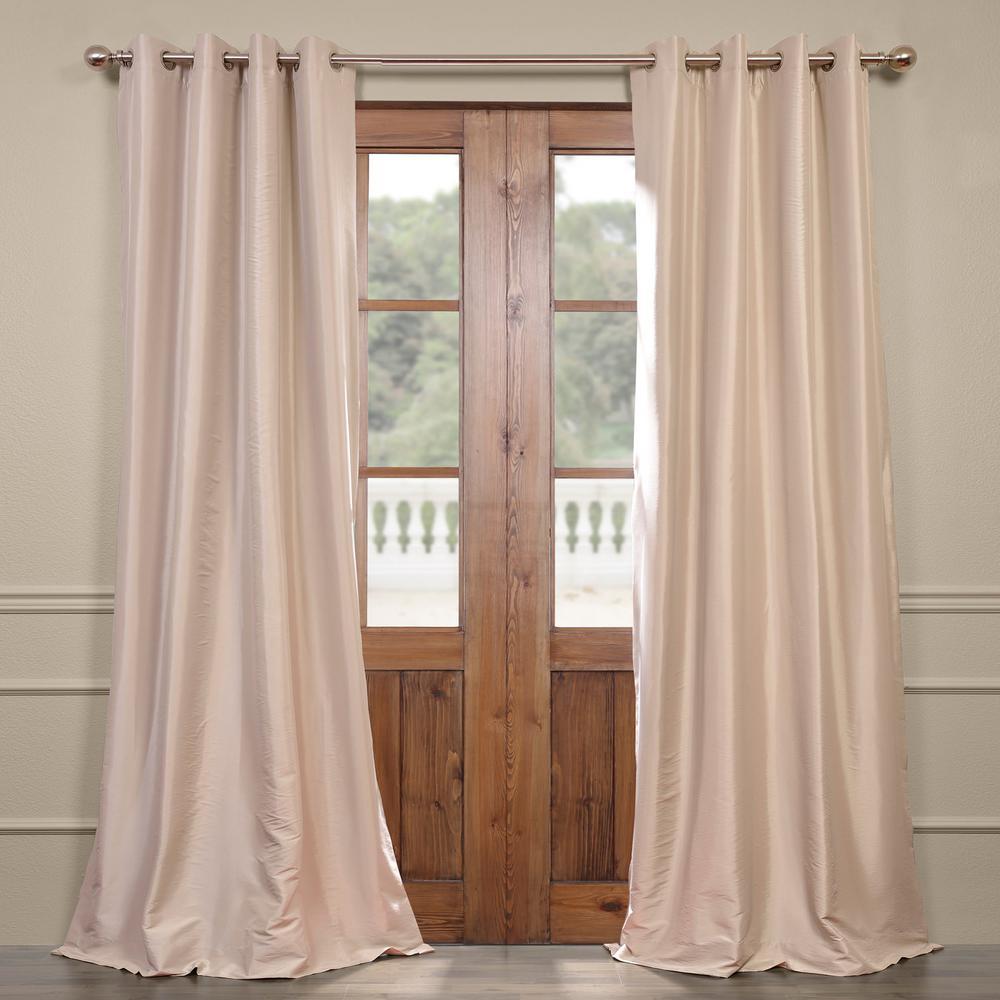 Antique Beige Grommet Blackout Faux Silk Taffeta Curtain - 50 in. W x 120 in. L