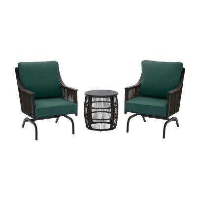 Bayhurst  Black 3-Piece Wicker Outdoor Patio Motion Seating Set with CushionGuard Charleston Blue-Green Cushions