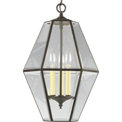 3-Light Antique Bronze Foyer Pendant with Clear Beveled Glass