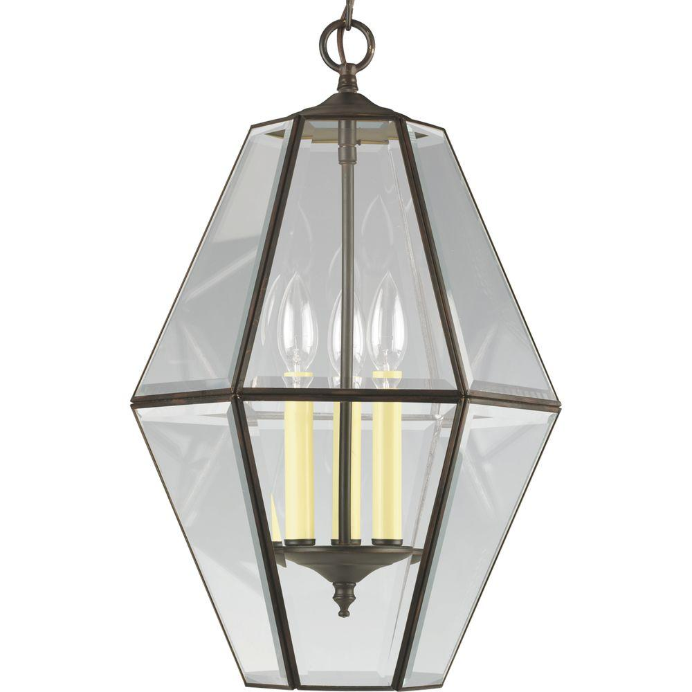 Progress Lighting 3 Light Antique Bronze Foyer Pendant With Clear Beveled Glass P3716 20 The