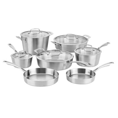 Conical 12-Piece Stainless Steel Cookware Set in Brushed Stainless Steel