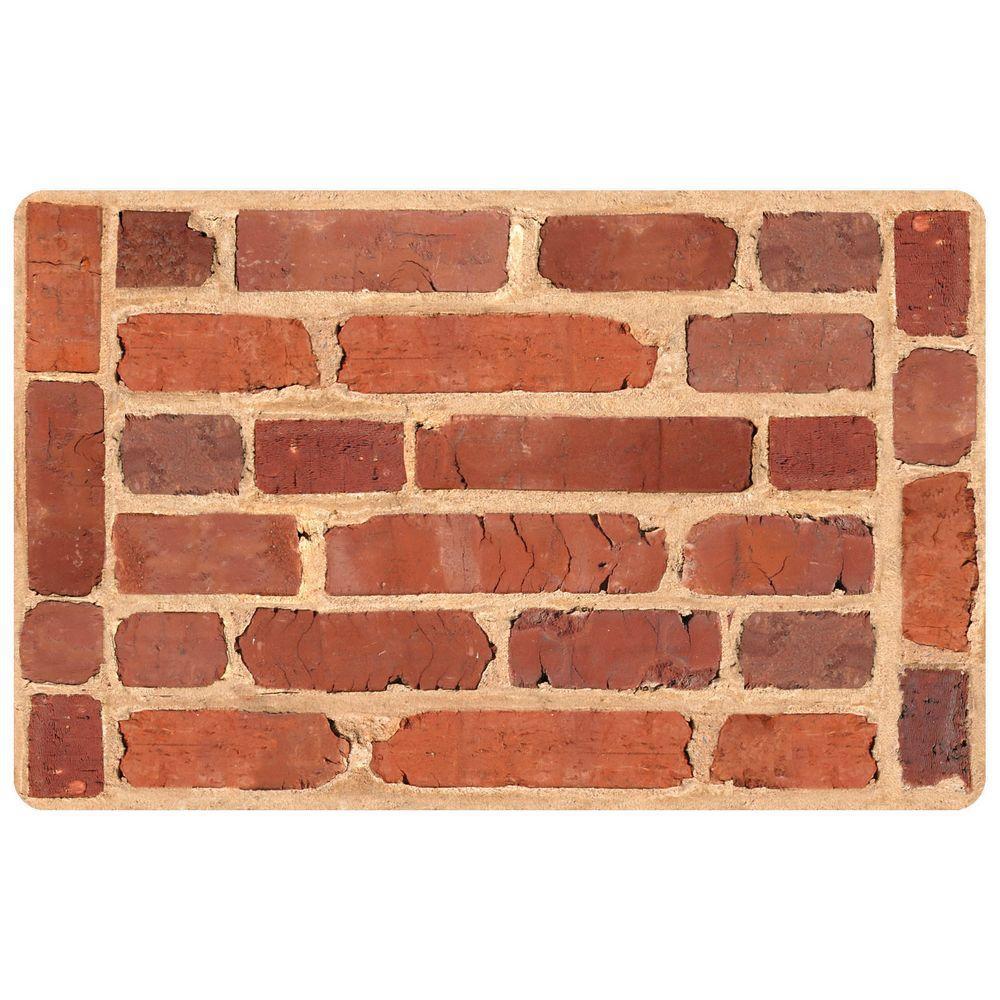 Bungalow Flooring Framed Brick 23 in. x 36 in. Multi Color Neoprene Mat