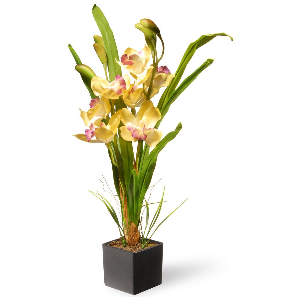 17 in. Yellow Orchid Flowers