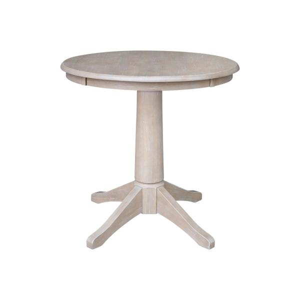 Olivia 30 in. Round Weathered Taupe Gray Pedestal Dining Table