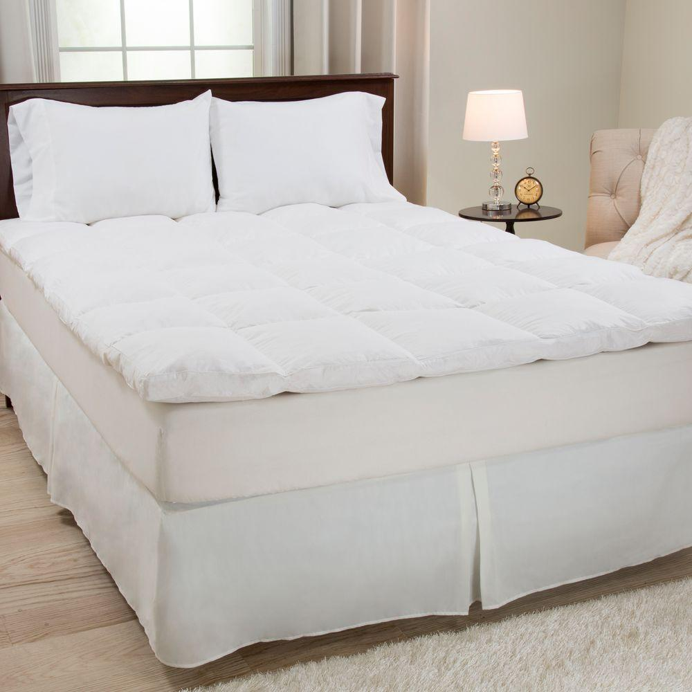 king bed mattress topper Lavish Home King Size 2 in. H 100% Duck Feather Mattress Topper 64  king bed mattress topper