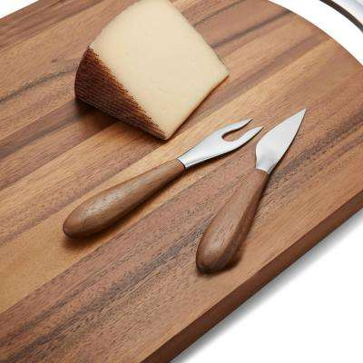 Curvo 2-Piece Wood and Stainless-Steel Cheese Set