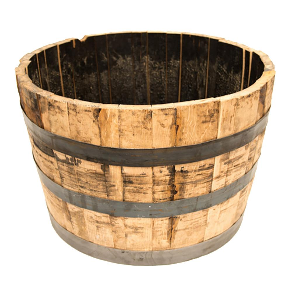 25 in. Dia Oak Wood Whiskey Barrel Planter