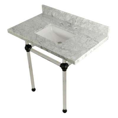 Square Sink Washstand 36 in. Console Table in Carrara Marble with Acrylic Legs in Matte Black