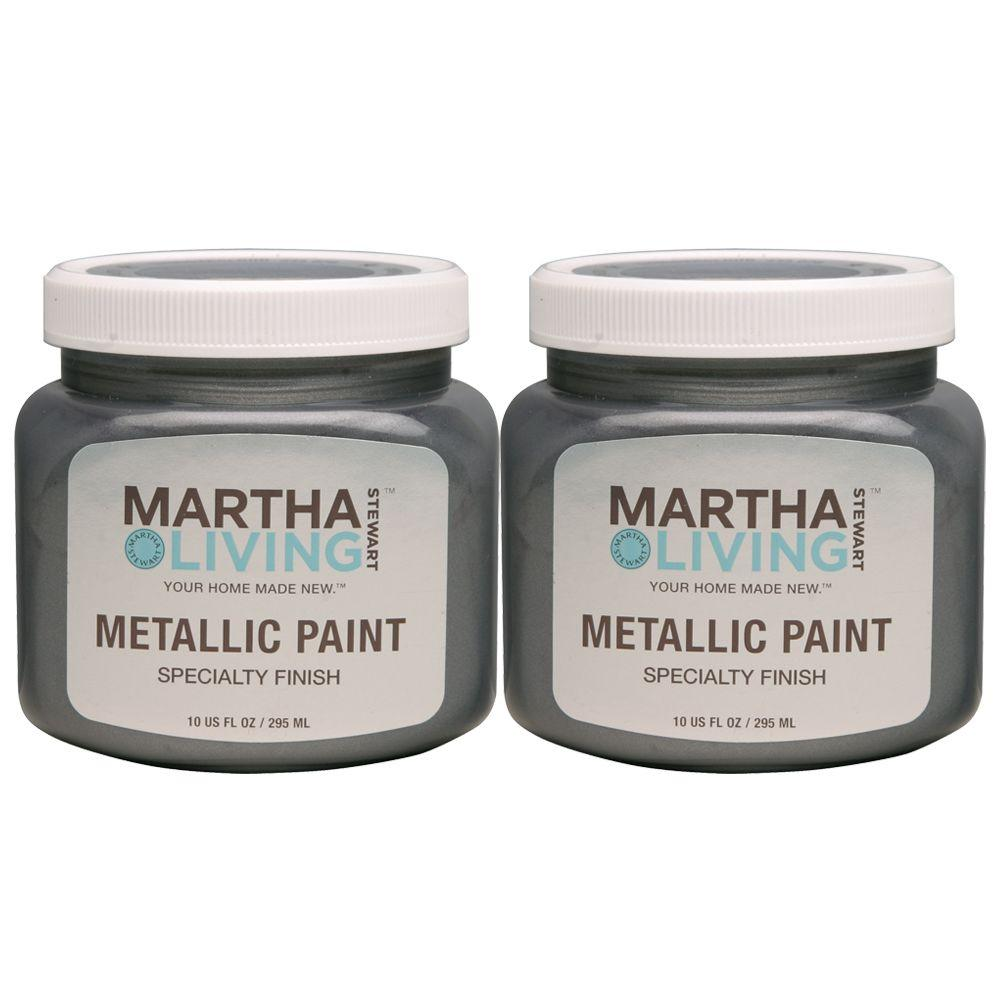 Martha Stewart Living 10-oz. Metallic Thunder Cloud Paint (2-Pack)-DISCONTINUED