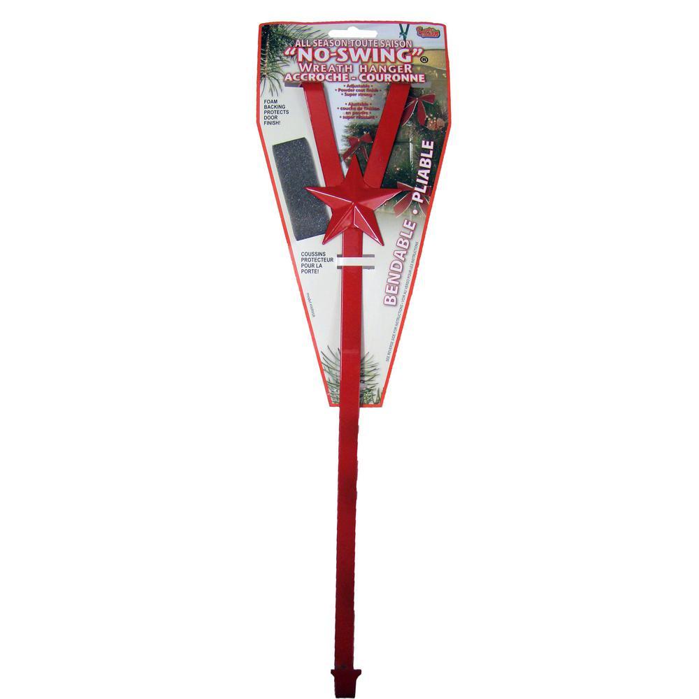 Santa No Swing 17 in. Red Steel Wreath Hanger