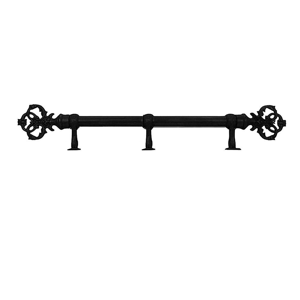 The Artifactory 8 Ft Fixed Length 1 In Dia Metal Drapery Rod Set In Black With New Orleans