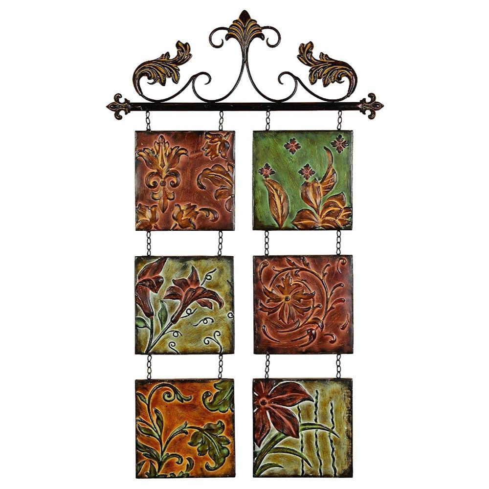 Botanical Scroll Multi-color Metal Wall Decor
