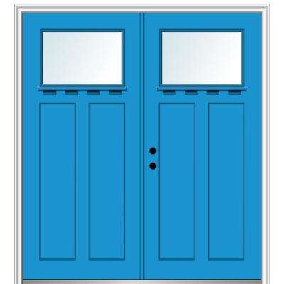 64 in. x 80 in. Shaker Right-Hand Inswing 1-Lite Clear Low-E Painted Fiberglass Smooth Prehung Front Door with Shelf