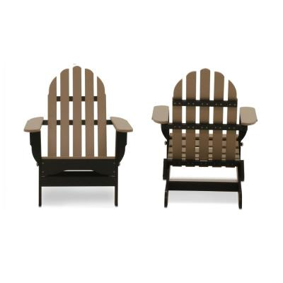 Icon Black and Weathered Wood Recycled Plastic Folding Adirondack Chair (2-Pack)