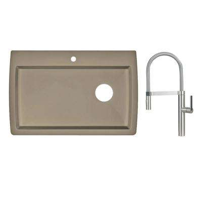 Diamond Dual Mount Granite Composite II 33 in. Single Hole Single Bowl Kitchen Sink with Faucet in Satin Nickel