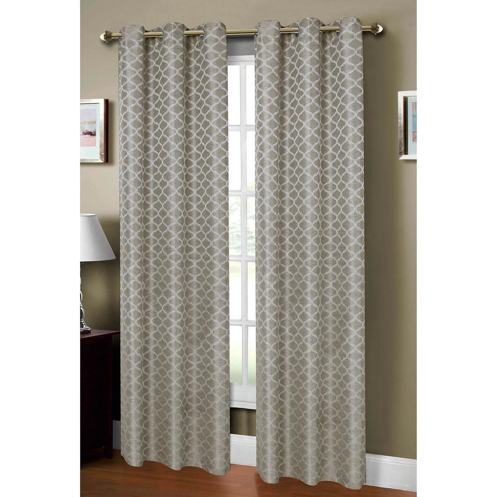 Window Elements Semi-Opaque Sonata Woven Lattice 54 inch W x 84 inch L Grommet Curtain Panel in Jacquard Gray by Window Elements
