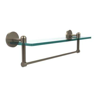 Tango Collection 22 in. Glass Vanity Shelf with Integrated Towel Bar in Antique Pewter
