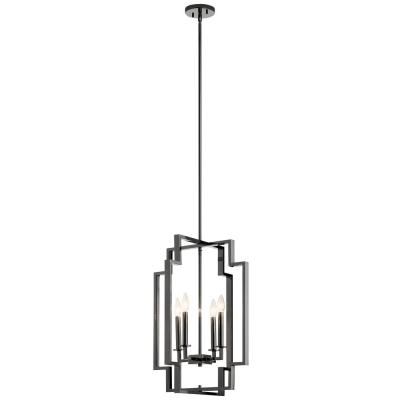 Downtown Deco 25 in. 4-Light Midnight Chrome Large Foyer Pendant
