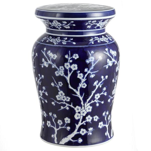 Cherry Blossom 17.7 in. Navy/White Ceramic Garden Stool