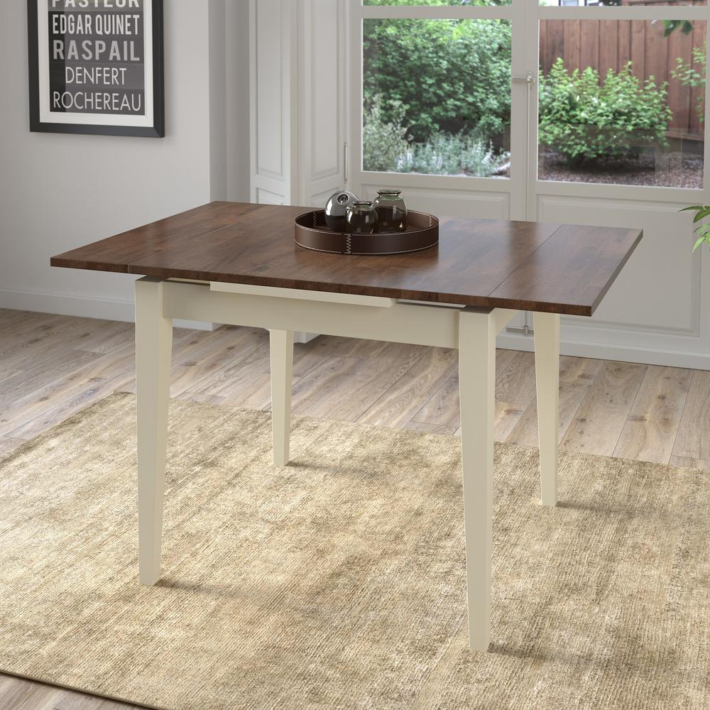 Corliving Dillon Dark Brown And Cream Wood Extendable Dining Table
