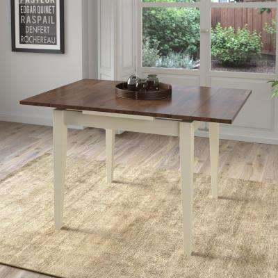 Dillon Dark Brown and Cream Wood Extendable Dining Table