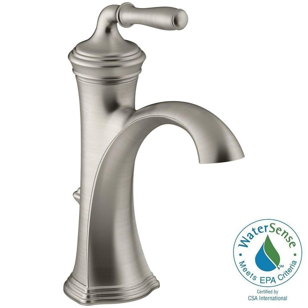 kohler devonshire single hole single handle water saving bathroom faucet in vibrant brushed nickel - Bathroom Faucets Home Depot