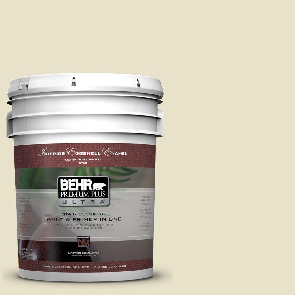 BEHR Premium Plus Ultra 5-gal. #PPU9-14 White Cliffs Eggshell Enamel Interior Paint, Whites