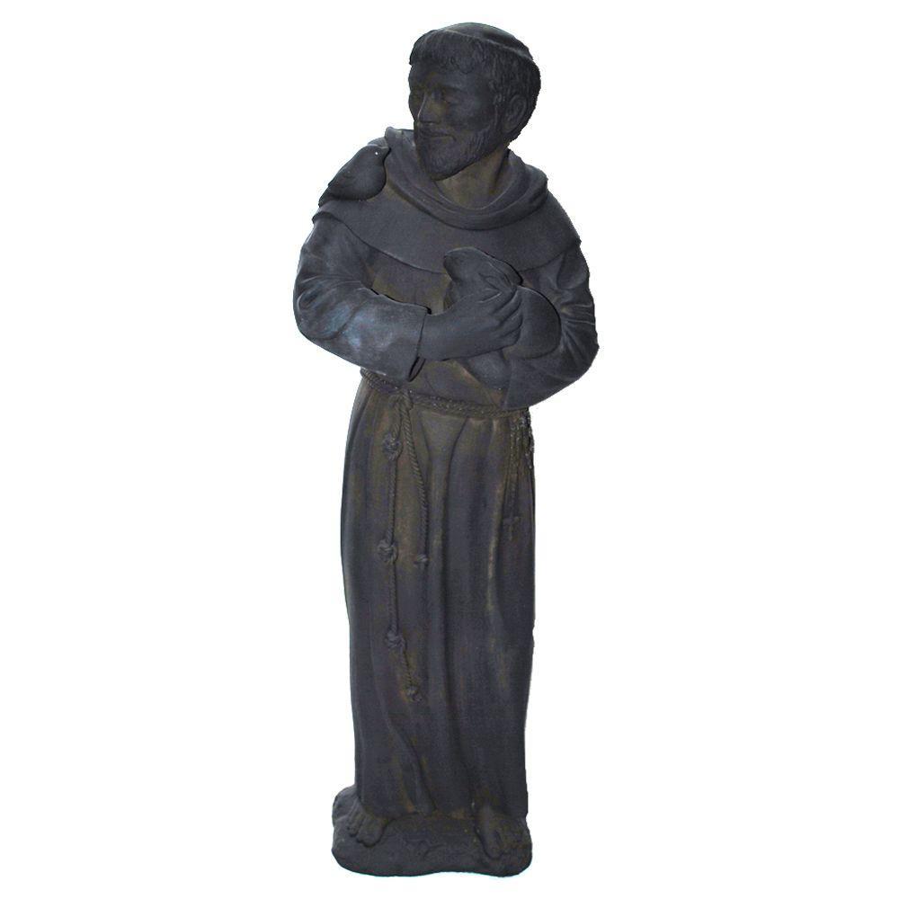 Cast Stone St. Francis Garden Statue Dark Walnut