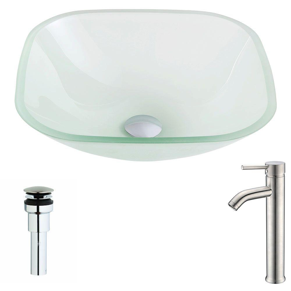 Vista Series Deco-Glass Vessel Sink in Lustrous Frosted with Fann Faucet
