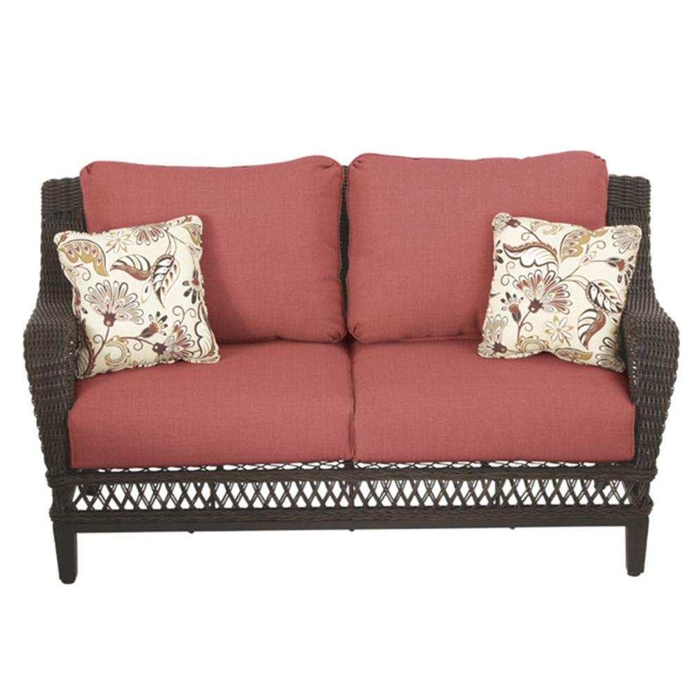 Hampton Bay Woodbury All Weather Wicker Outdoor Patio Loveseat With Chili Cushion Dy9127 Lv R