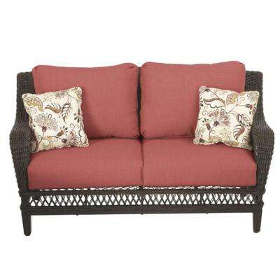 Woodbury All-Weather Wicker Outdoor Patio Loveseat with Chili Cushion