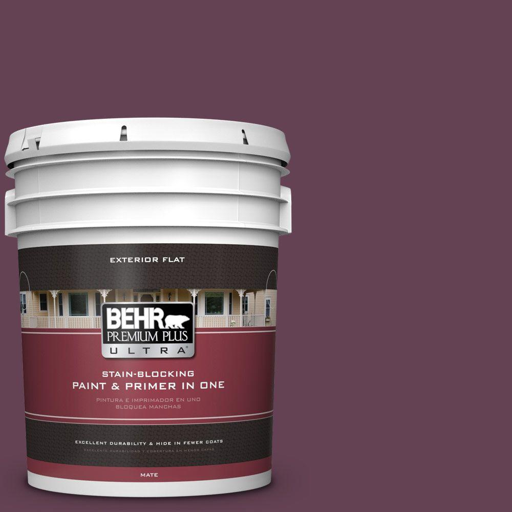 BEHR Premium Plus Ultra 5-gal. #ICC-111 Plum Harvest Flat Exterior Paint