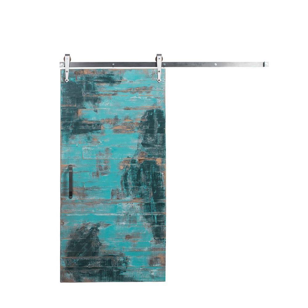 42 in. x 84 in. Reclaimed Aqua Wood Barn Door with Arrow Sliding Door Hardware Kit