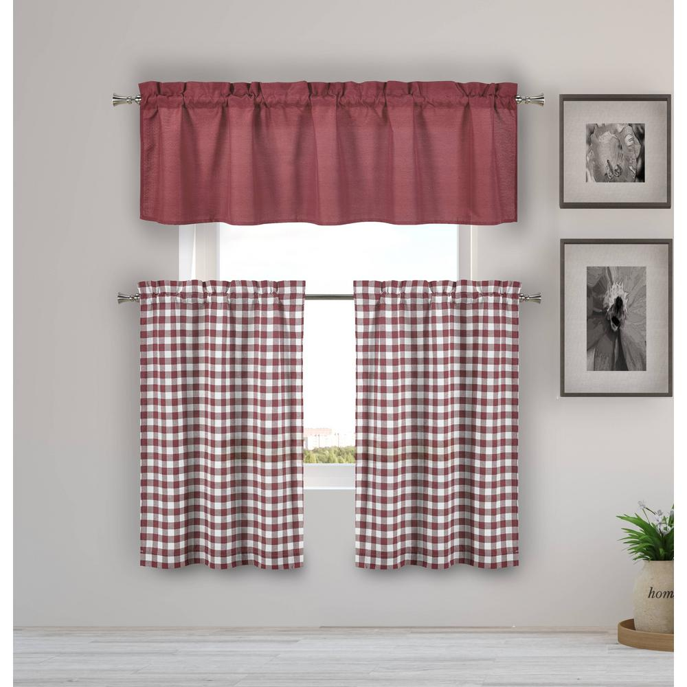 HOME MAISON Kinglough Wine Kitchen Curtain Set - 58 in. W x 15 in. L in  (3-Piece)