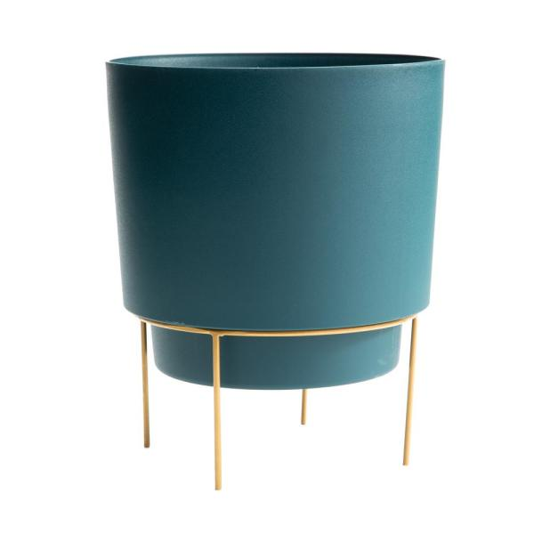 Hopson Medium 10 in. Charleston Green Plastic Planter with Metal Gold Stand